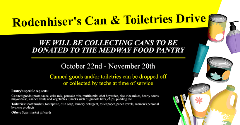 Rodenhiser's Can & Toiletries Drive