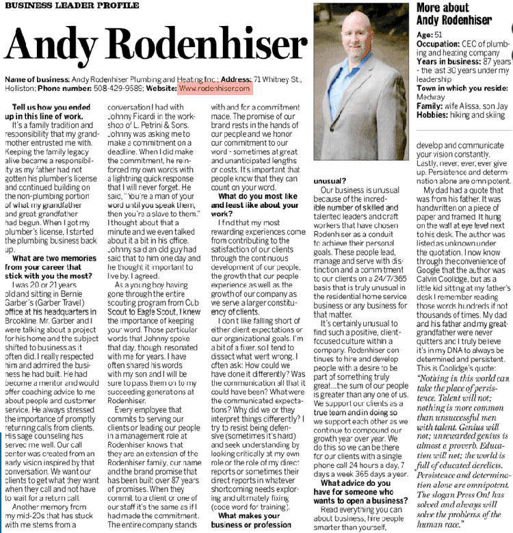 Andy's Business Profile - MetroWest Daily News